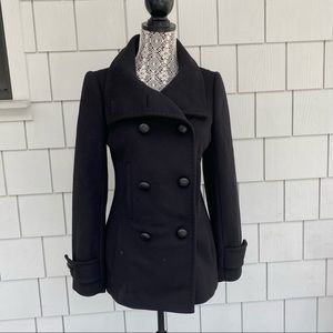 Babaton black pea coat wool and cashmere small